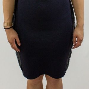Topshop Dresses - Navy Blue Pencil Dress with Sheer Lining